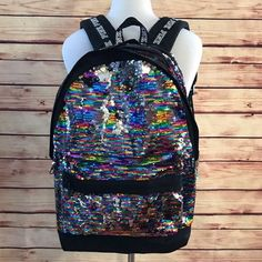 Brand new without tags and never used, Sequin Victoria's Secret PINK Campus Backpack Sequin Backpack, Tote Backpack, Fashion Backpack, Pink Bling, Pink Sequin, Pink Backpacks, Vera Bradley Backpack, Vs Pink, Victoria's Secret Pink