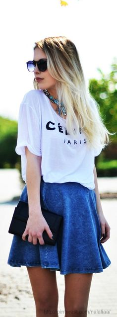 Tee and jean skirt - elevated