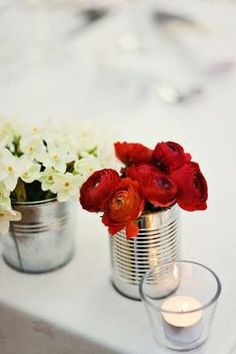 red flowers + tin can = sweet simple bliss