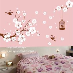 Hey, I found this really awesome Etsy listing at http://www.etsy.com/listing/126886671/nursery-wall-stickers-cherry-blossom