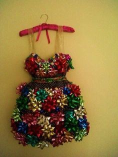 Great idea for ugly christmas outfit parties! You just take a dress, and put on ribbons, bows, and tinsel, and you'll look like a christmas present.