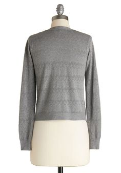 Textbook Cutie Cardigan in Grey. You set the standard for intelligent outfitting by sporting this grey pointelle sweater to class! #grey #modcloth