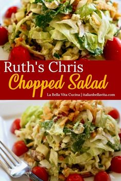 Ruth s Chris FAMOUS Chopped Salad Recipe copycat that is the exactly the DELICIOUS RECIPE you are searching for Find it on La Bella Vita Cucina salad ruthchrischoppedsalad copycatrecipe ruthchrissteakhouse choppedsaladrecipe choppedsalad # Chopped Salad Recipes, Best Salad Recipes, Salad Recipes For Dinner, Salad Dressing Recipes, New Recipes, Cooking Recipes, Healthy Recipes, Ruth's Chris Chopped Salad Recipe, Salad Dressings