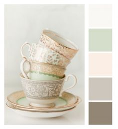 Mint and taupe china...great wall color inspiration