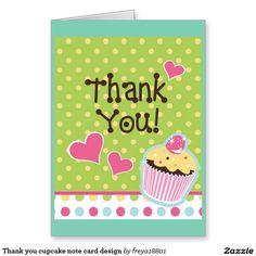 Thank you cupcake note card design