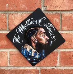 Nipsey Hustle inspired graduation cap topper - All For Bridal Hair Graduation Cap Toppers, Graduation Cap Designs, Graduation Banner, Graduation Post, Graduation Photoshoot, Graduation Cap Decoration, Grad Cap, Graduation Shirts, Cap Decorations