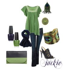 Green and Blue with a splash of peacock, created by jackijons.polyvore.com