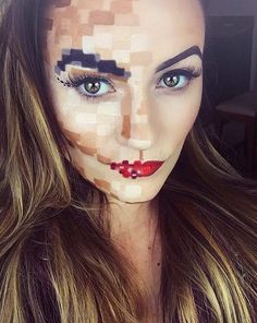 Pixelated Face Makeup Look for Halloween