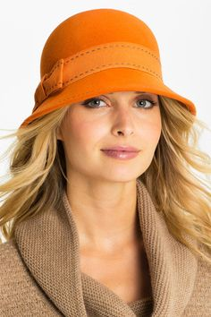 Nordstrom Contrast Stitch Cloche available at So cute hat need buy! Fancy Hats, Cute Hats, Orange Hats, Downton Abbey Fashion, Stylish Hats, Love Hat, Felt Hat, Headgear, Face Shapes