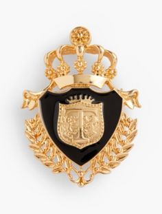 Gold Chain Men Gifts Talbots Regal Crest Brooch - details An elevated accessory: our gorgeous regal crest brooch is a must-have novelty piece. features x 1 closureShiny gold plating with light antiquingImported Fit and material Fit: One size I Love Jewelry, Sea Glass Jewelry, Gold Jewelry, Jewelry Accessories, Vintage Jewelry, Jewellery Bracelets, Gucci Jewelry, Bohemian Bracelets, Black Bracelets