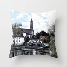 Old Danube at the Ducal Castle in Straubing Bavaria Throw Pillow by helsch photography - $20.00