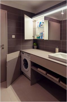 Impeccable And Neat Design Defining A Beautiful Modern Apartment In Bratislava Laundry Bathroom Combo, Small Bathroom With Shower, Narrow Bathroom, Small Laundry Rooms, Bathroom Sink Vanity, Laundry Room Design, Bathroom Design Luxury, Interior Design Kitchen, Paint Colors For Living Room