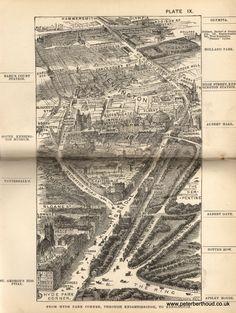 From Hyde Park Corner, through Knightsbridge to Kensington. A bird's-eye view from Herbert Fry's 'London', 1891.