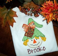 Monogram Applique Fall Scarecrow T Shirt or by BlumersEmbroidery, $24.00