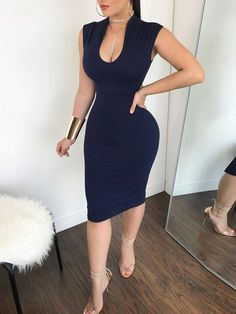 Shop Bodycon Dresses Sexy Mock Cut Out Front Sleeveless Bodycon Dress Tight Dresses, Sexy Dresses, Dress Outfits, Evening Dresses, Fashion Dresses, Fashion Mode, Look Fashion, Street Fashion, Fashion Trends