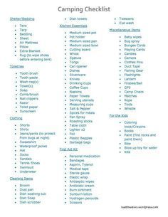 Camping Checklist. Very thorough, only pack the bare essentials..