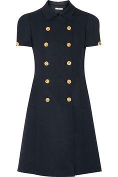 MIU MIU Double-Breasted Stretch Wool-Crepe Mini Dress. #miumiu #cloth #dress