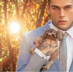 Sloth and a tattooed man. I can die a happy women!