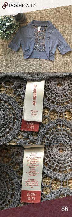 Grey Shrug Juniors size, grey shrug with beautiful crochet detail on back. Smile free home. No Boundaries Sweaters Shrugs & Ponchos
