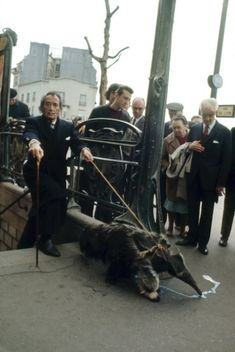 salvador dali com seu fiel tamanduá saindo da estação de metrô de Paris   em 1969. A foto de autoria de Patrice Habans.