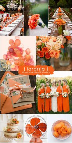 Decoração de Casamento : Paleta de Cores Laranja | Wedding Inspiration Board Color Palette Orange | http://blogdamariafernanda.com/decoracao-de-casamento-paleta-de-cores-laranja
