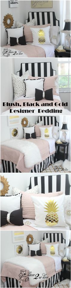 Pink and black dorm room bedding sets. Fun, Fringe, and Fur! This dorm bedding set is totally trendy. Our blush pink quilt combines with bold black stripes, metallic dalmatian print, fur, fringe, and bows. Gotta have it? We feel ya! It's FUR-IFFIC!