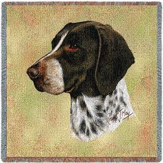 German Shorthaired Pointer Dog Portrait Throw