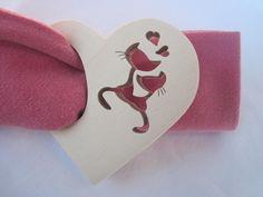 rond de serviette chantourné en bois forme coeur et chats amoureux : Cuisine et service de table par tout-qu-en-bois
