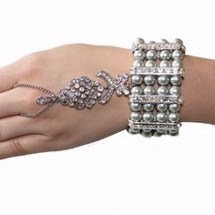1920's Great Gatsby Inspired Silver Pearl Crystal Hand Chain Bracelet