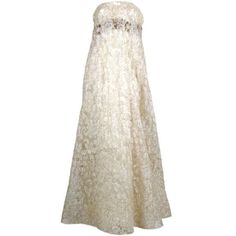 Preowned Couture Lace Gown With Beaded Bodice ($825) ❤ liked on Polyvore featuring dresses, gowns, beige, strapless lace dress, lace overlay dress, couture gowns, lace evening gowns and lace evening dresses
