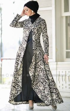 Suit with Evening Dress - Black - Dersaadet Muslim Evening Dresses, Hijab Evening Dress, Muslim Dress, Black Evening Dresses, Batik Fashion, Abaya Fashion, Muslim Fashion, Fashion Dresses, Trendy Dresses