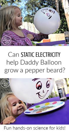 Can static electrivity help Daddy Balloon grow a pepper beard? Fun hands-on, static electricity science experiment for toddlers, preschoolers and kindergarten kids.  From Go Science Kids.    #scienceathome #funscience #preschoolscience #staticelectricity #staticscience #sciencekids #scienceexperiment