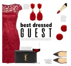 """""""Best Dressed Guest: Vineyard Wedding"""" by katsin90 ❤ liked on Polyvore featuring Kenneth Jay Lane, Christian Louboutin, Adrianna Papell, Yves Saint Laurent, iittala, Dolce&Gabbana, Avenue, Eve Snow, napa and winerywedding"""