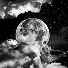 Moon & Stars in black and white.