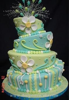 Turquoise Lime Yellow Daisy Mad Hatter Cake
