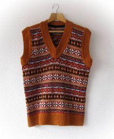 unisex handknit fair isle vest knitted vest nordic for men
