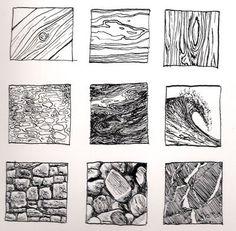 Kinnon Elliott Illustration: Pen and Ink Texture Thumbnails