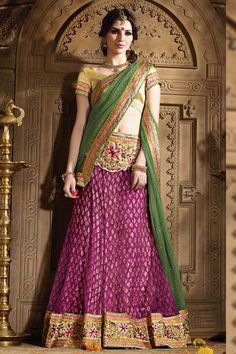 Description: Buy pink dhupian designer lehenga with best price at Variation. Huge collection of designer lehenga and bridal lehengas online. Best online destination for online shopping of bollywood le
