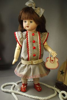LSDS 1911 #16, for Bleuette.  Striped silk with leather belt and purse, stitched by House-of-Bleus