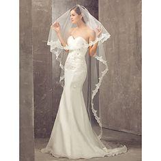 Un palier cathédrale voile de mariage avec le bord Applique – EUR € 32.99
