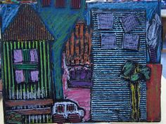 oil pastels paint cardboard cityscapes