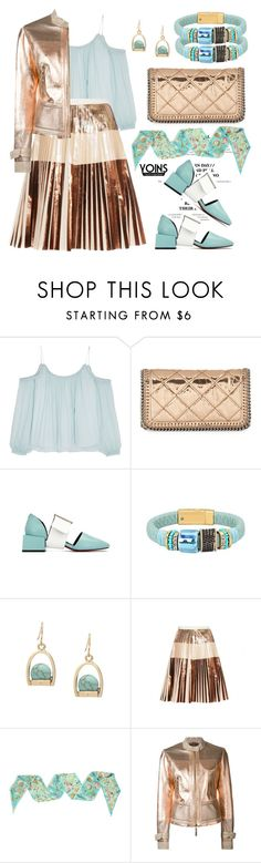 """""""Metal and mint with yoins"""" by pensivepeacock ❤ liked on Polyvore featuring Elizabeth and James, STELLA McCARTNEY, Proenza Schouler, Chanel and Roberto Cavalli"""