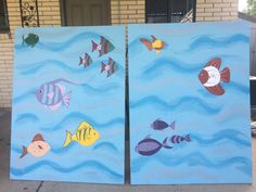 Fishing booth. My daughter and I painted this together for our neighborhood 4th of July picnic.