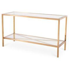 Gold Console Table With Glass Shelves (Brand New)