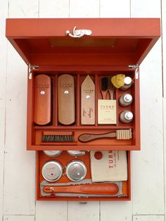 \\ Turms Red Wooden Complete Shoe Care Kit. \\ is it wrong that I really want this to replace my plastic bin of shoe care supplies?