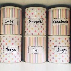 Upcycle Tin Cans Tin Can Crafts, Diy And Crafts, Formula Can Crafts, Recycle Cans, Washi Tape Diy, Craft Storage, Recycled Crafts, Fun Projects, Diy Design