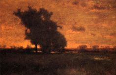 """George Inness, Sunset at Milton 1885  His work was influenced, in turn, by that of the old masters, the Hudson River school, the Barbizon school, and, finally, by the theology of Emanuel Swedenborg, whose spiritualism found vivid expression in the work of Inness' maturity. Often called """"the father of American landscape painting,"""" Inness is best known for these mature works that not only exemplified the Tonalist movement but also displayed an original and uniquely American style."""