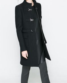 WOOL COAT WITH HOOK AND EYE CLOSURE from Zara