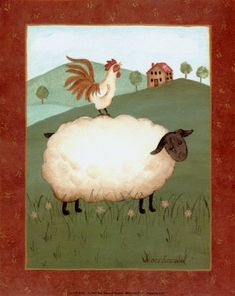sheep with rooster