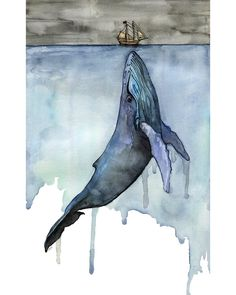 "Watercolor Whale Painting - Print titled, ""Fathoms Below"", Nautical, Beach Decor, Whale Nursery, Whale Art, Whale Print, Humpback Whale by TheColorfulCatStudio on Etsy https://www.etsy.com/listing/246227091/watercolor-whale-painting-print-titled"